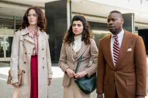 """TIMELESS -- """"The Day Reagan Was Shot"""" Episode 208 -- Pictured: (l-r) Abigail Spencer as Lucy Preston, Claudia Doumit as Jiya, Malcolm Barrett as Rufus Carlin -- (Photo by: Colleen Hayes/NBC)"""