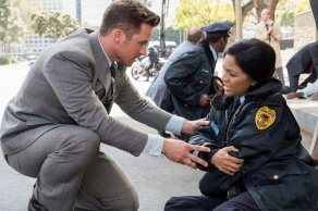 """TIMELESS -- """"The Day Reagan Was Shot"""" Episode 208 -- Pictured: (l-r) Matt Lanter as Wyatt Logan, Karen David as Young Denise Christopher -- (Photo by: Colleen Hayes/NBC)"""
