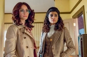 """TIMELESS -- """"The Day Reagan Was Shot"""" Episode 208 -- Pictured: (l-r) Abigail Spencer as Lucy Preston, Claudia Doumit as Jiya -- (Photo by: Ron Batzdorff/NBC)"""