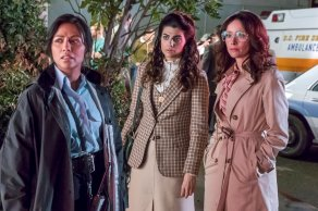 """TIMELESS -- """"The Day Reagan Was Shot"""" Episode 208 -- Pictured: (l-r) Karen David as Young Denise Christopher, Claudia Doumit as Jiya, Abigail Spencer as Lucy Preston -- (Photo by: Ron Batzdorff/NBC)"""
