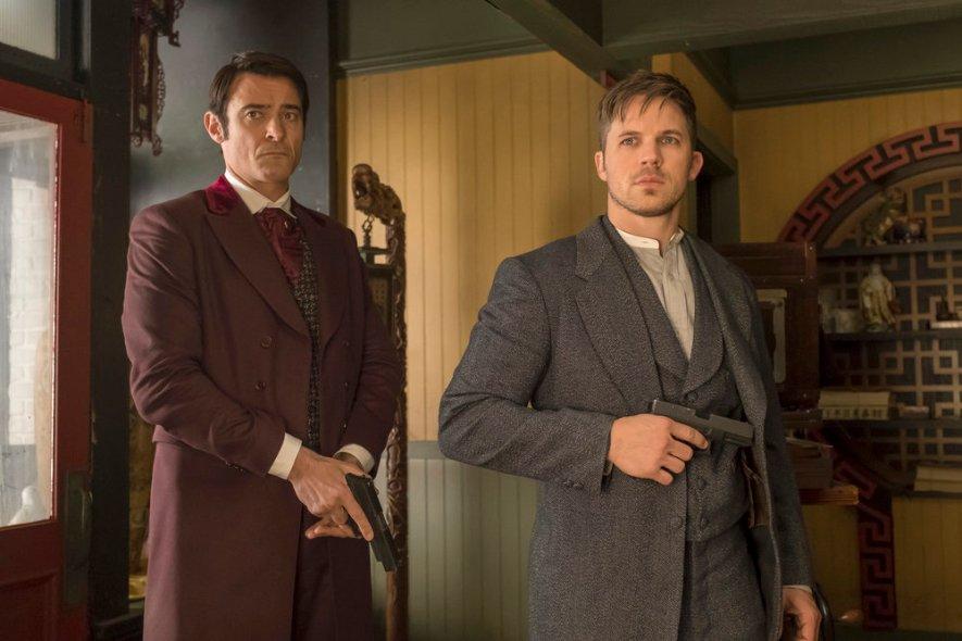 "TIMELESS -- ""A History of San Fran"" Episode 210 -- Pictured: (l-r) Goran Visnjic as Garcia Flynn, Matt Lanter as Wyatt Logan -- (Photo by: Ron Batzdorff/NBC)"